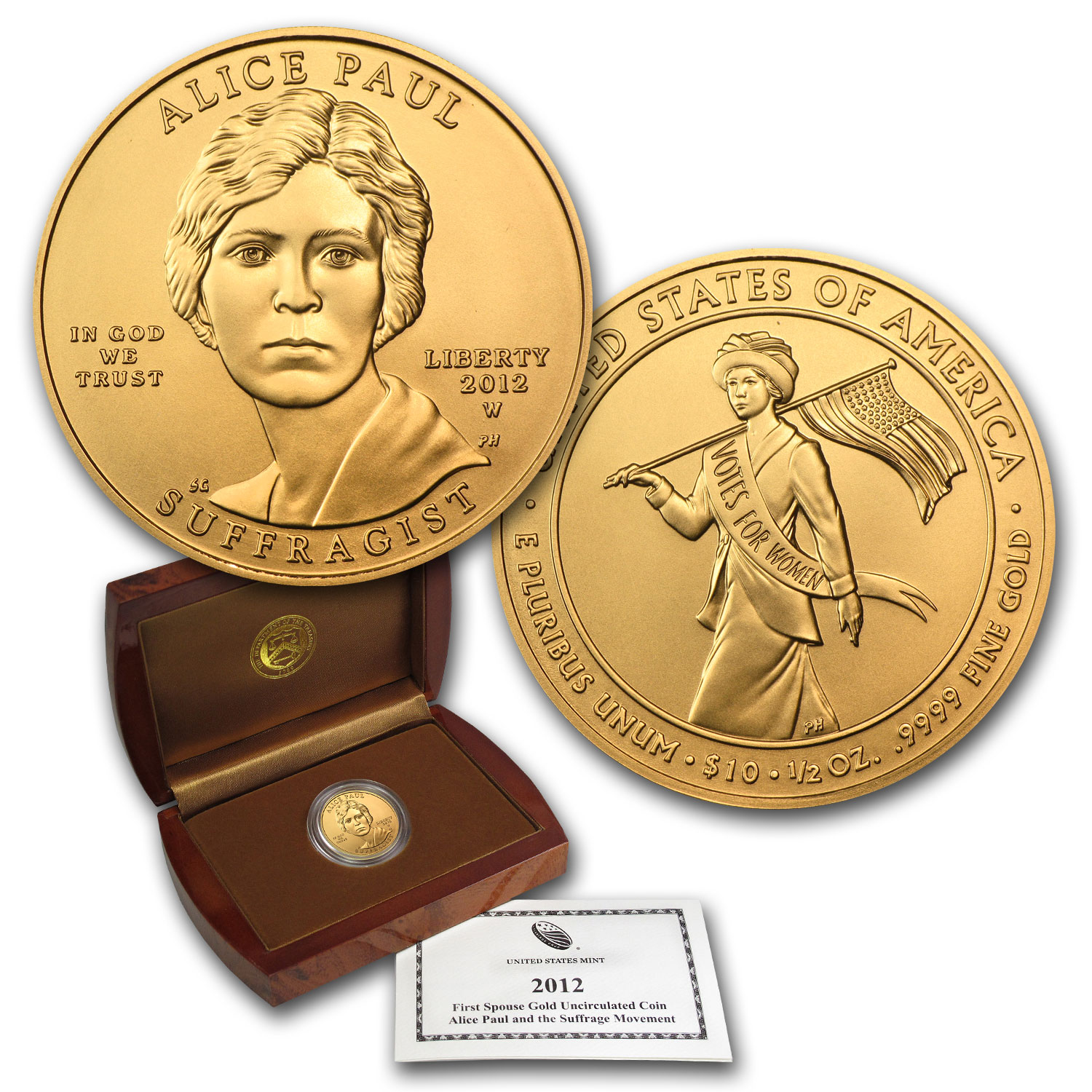 2012-W 1/2 oz Gold Alice Paul BU (w/Box & COA)